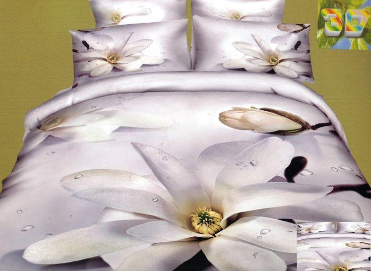 Miękka biała pościel bawełniana w kwiaty
