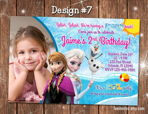 Frozen - Anna Elsa Olaf in Summer - CUSTOM Pool Swim Birthday Party Girl Photo Invitations - Printable
