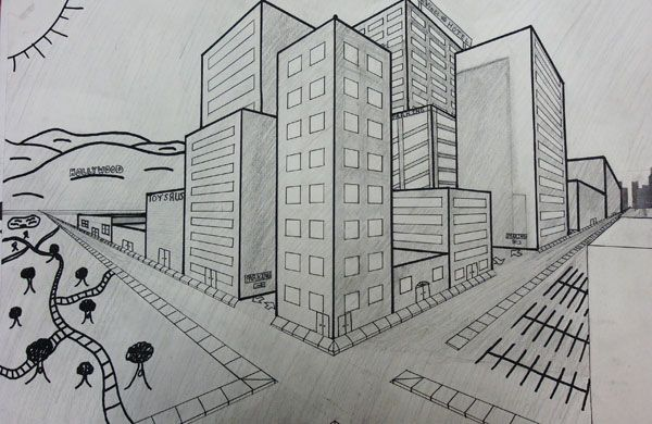 17 best images about 1 2 point perspective on pinterest for Exterior 1 point perspective