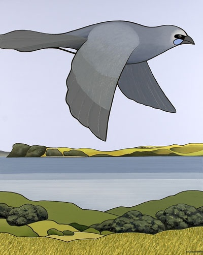 """Kokako, Tiritiri Matangi"" by Don Binney, New Zealand artist.  Native blue wattled crow flies over Tiritiri Matangi, an island in the Hauraki Gulf."