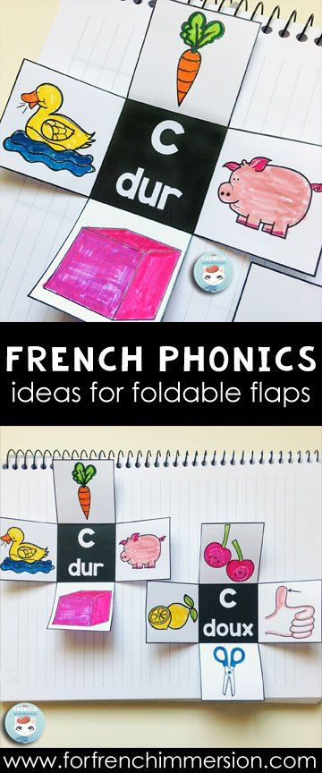 French PHONICS foldable flaps - an interactive way to get kids to learn phonics. Teaching French sounds. Le son C dur et doux.
