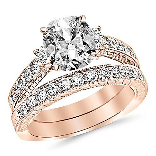 1.78 Ctw 14K Rose Gold GIA Certified Cushion Cut Three Stone Vintage With Milgrain & Filigree Bridal Set with Wedding Band & Diamond Engagement Ring, 0.75 Ct G-H SI1-SI2 Center