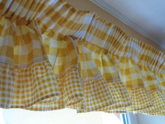 H10 X W140 Vintage Curtain Valance Yellow White Gingham Valance