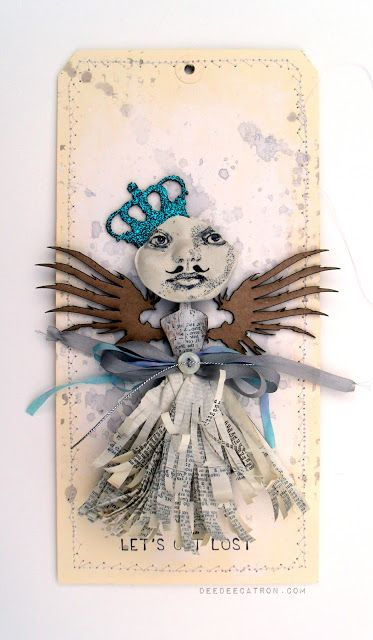 My muse by DeeDee Catron -- A giant mixed media tag using UmWowStudio, Finnabair, Prima Marketing, May Arts, Liquitex, Viva Las VegaStamps! and more