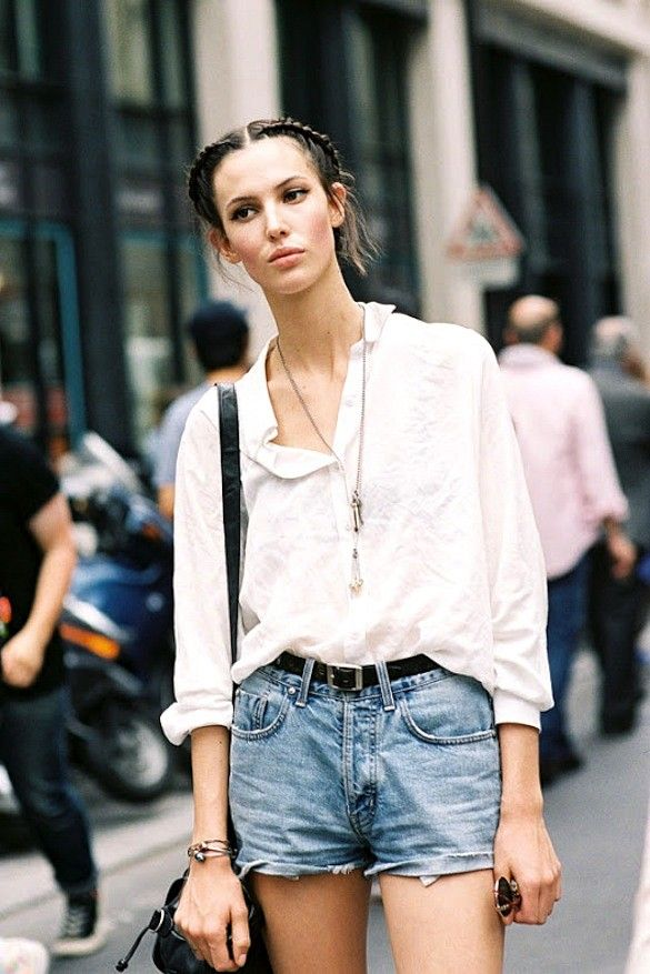 Model-Off-Duty Style: Get Ruby Aldridge's Cool Denim Shorts Look via @WhoWhatWear