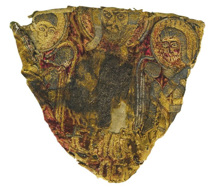 Panel from a Mongol hat, shown upside-down, made from repurposed embroidery depicting Jesus and archangels, found in the grave of a Mongol warrior who belonged to the Golden Horde, which conquered much of Eastern Europe in the 13th century.