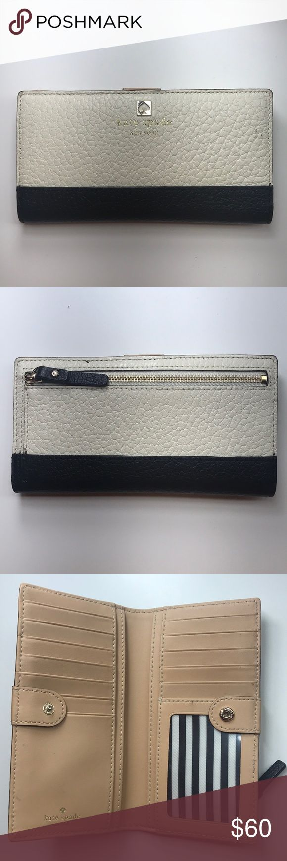 Cameron Street Stacy KateSpade Wallet Barely used. Good as new. Great condition. 12 credit card slots. 1 ID slot. Two billfolds. Leather. Stripe print lining. kate spade Bags Wallets