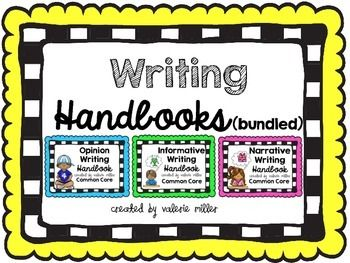 This Common Core Writing Handbook is a set of interactive flip books that your students will reference all year long.  This bundle includes all three text types of common core writing:  opinion, informative, and narrative.  It defines the text type and gives students reference tools for graphic organizers, writing introduction, transitions, and conclusions.