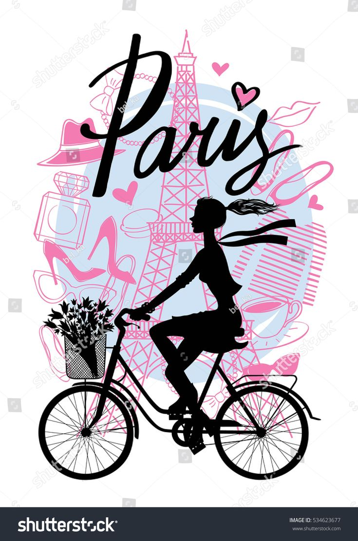 A girl rides a Bicycle. Silhouette cyclist. Paris. Vector hand drawn illustration with Eiffel tower. Fashion accessories.