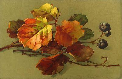 Little Birdie Blessings :  Fall leaves and berries.  Vintage postcard by artist Catherin Klein.
