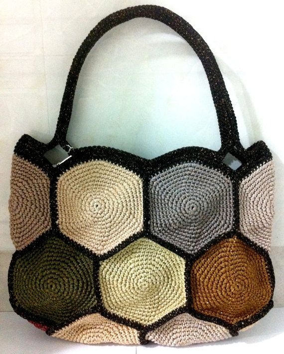 Beehive Pattern Handmade Crochet Tote Bag. Easy - wearing day into night,