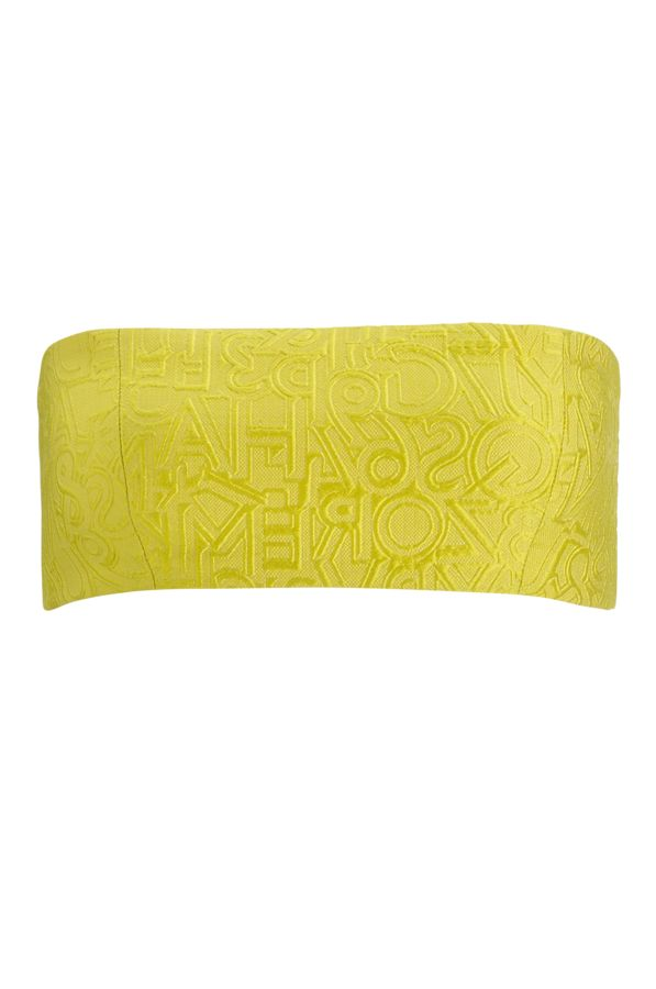 A bold block statement of yellow alphabet jacquard, this bandeau is an easy addition to any outfit and an effortless way to add colour to any outfit.