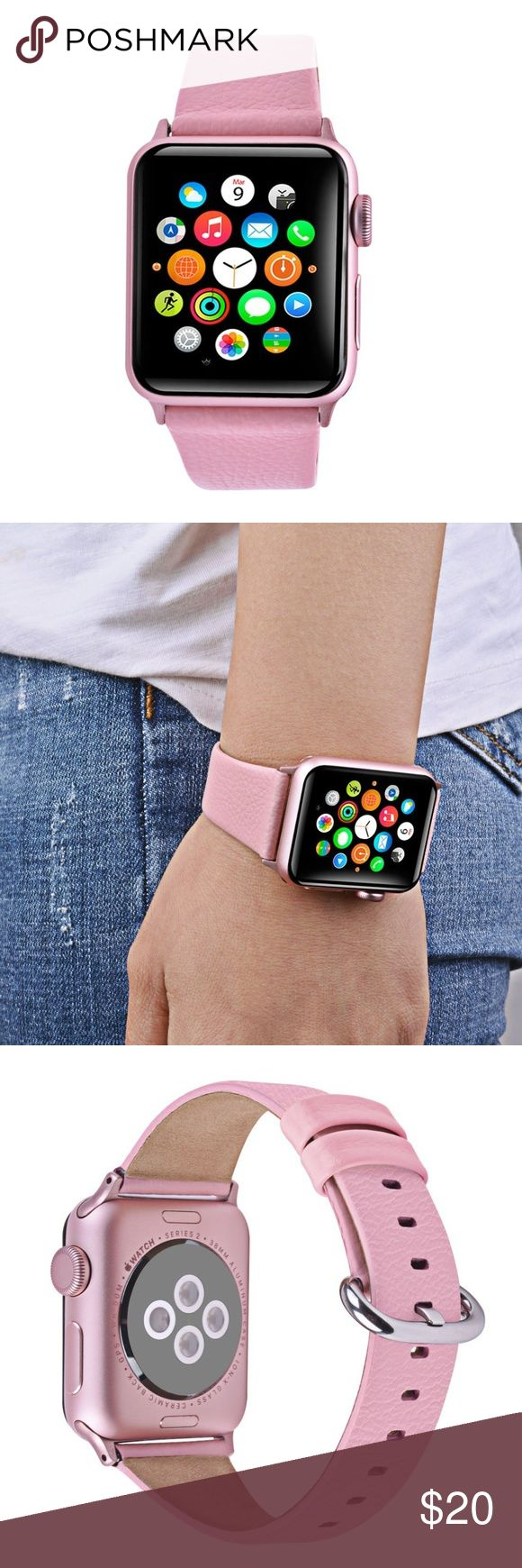 """Apple Watch Band,  Premium Genuine Leather *This is for the band only* Apple watch band 38mm - fit for Apple Watch Series 3 Series 2 Series  1 sport & edition all versions, for wrists 145mm - 200mm (approx. 5.6""""inch - 7.8""""inch) Real cowhide leather-  This iwatch band is manufactured by manual with the high quality cow genuine leather. Extra soft when wearing Litchi grain apple watch bands- visibility litchi grain on the surface of band makes your apple watch more charming and gorgeous Luxury…"""