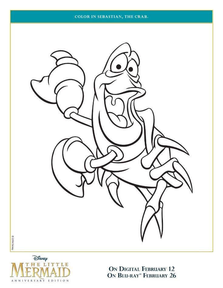 Little Mermaid Sebastian Coloring Page Mermaid Coloring