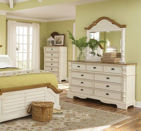 Coaster Furniture - Oleta Buttermilk/Brown Dresser and Mirror Set - 202883-84