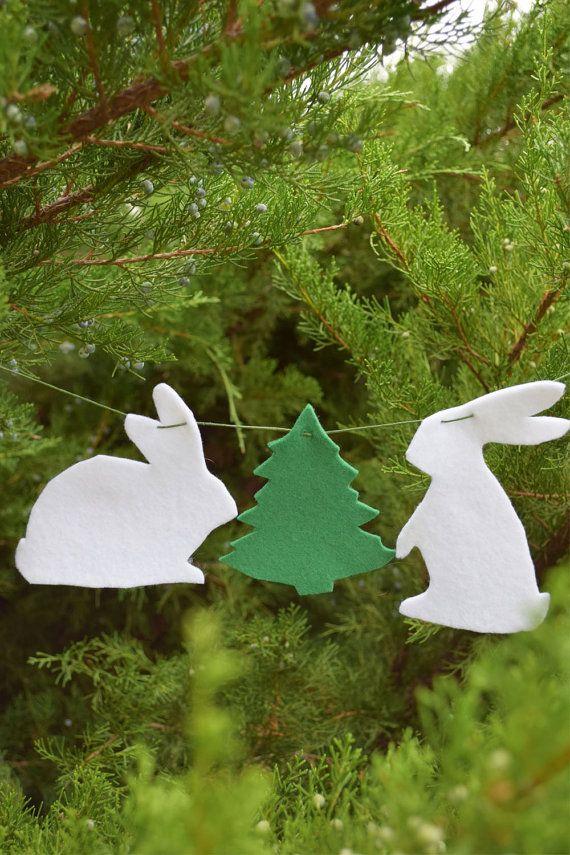 Christmas Bunny garland Felt banner Animal bunting Nursery decor Christmas party favors Baby Christmas Stocking stuffer Christmas tree decor