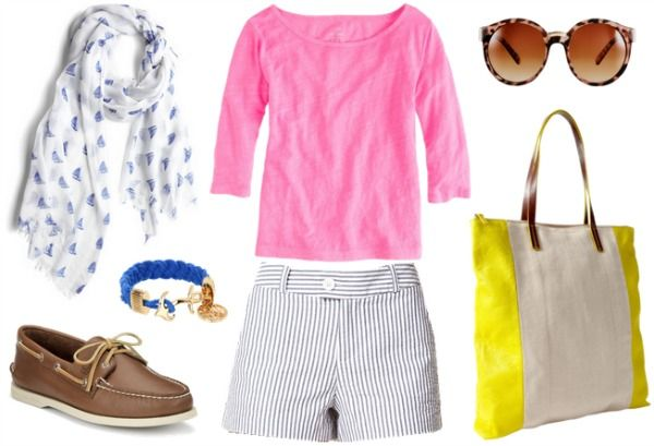 Disney BoardWalk Outfit - pink top, seersucker shorts, Sperry's, nautical scarf - different color sweater