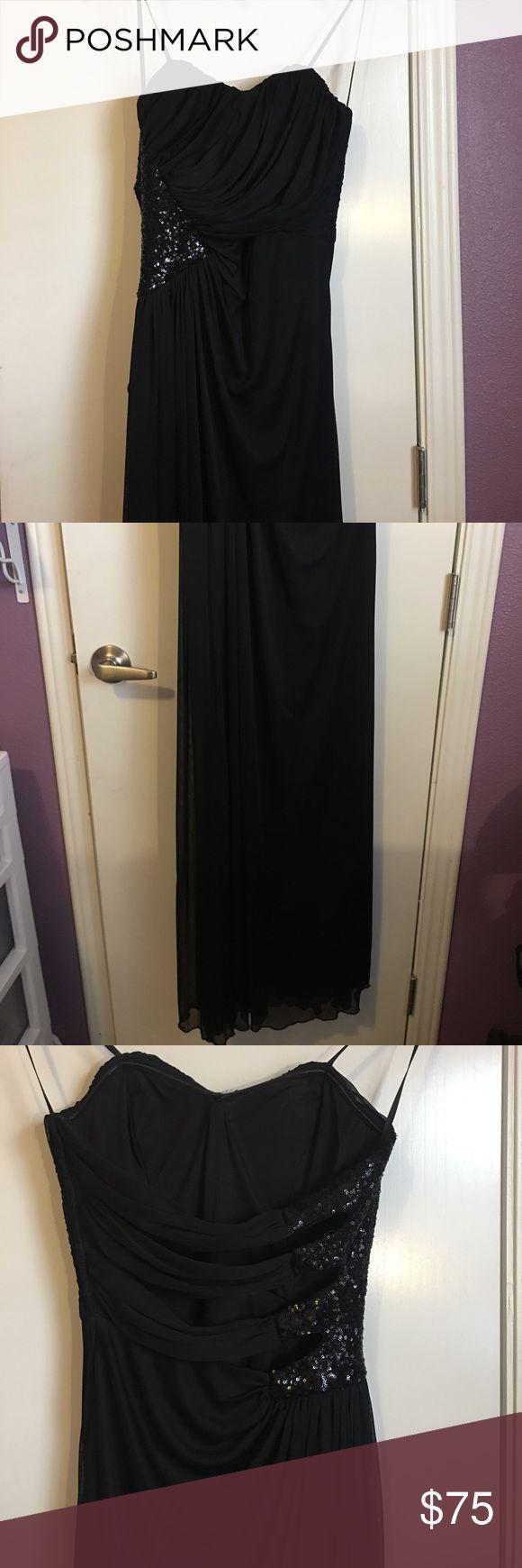 Windsor Black Formal Dress Long black with black sequin detailing formal dress from Windsor. Only used once. Windsor Dresses Strapless
