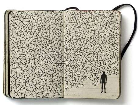 "carnetimaginaire: Pep Carrió Pep Carrió, a Spanish graphic designer, began to work on these diaries in 2007 as a project to create an image every day. Carrió says that his books are ""a portable laboratory, where I can work with difference ideas and found images."" via"