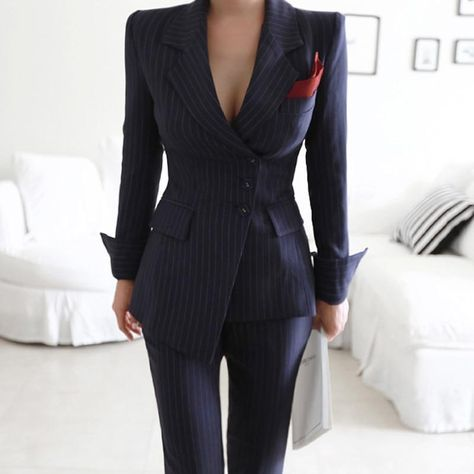 Business Irregular Striped Women Pant Suits - Single Breasted Blazer + Slim Pencil Pant - Size S to XL 2