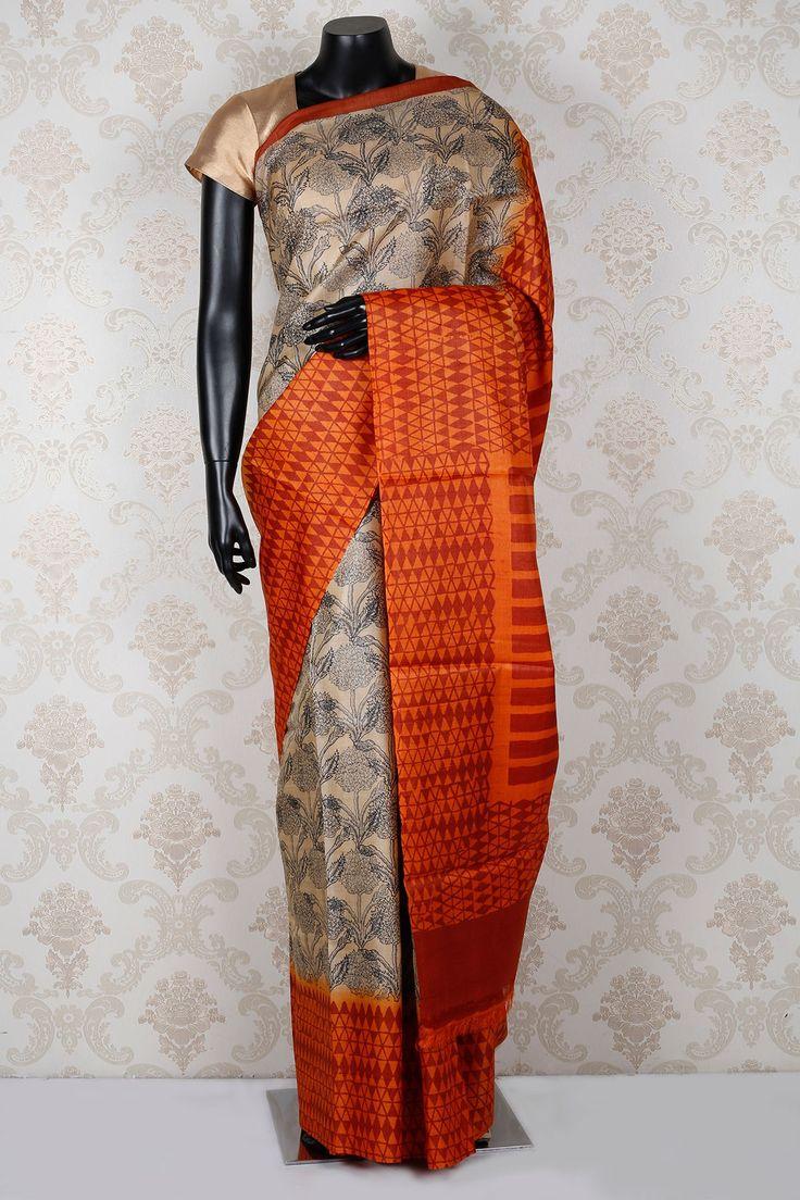 Beige & navy #blue pure #tussar silk marvellous #saree with #orange & #maroon border -SR13915