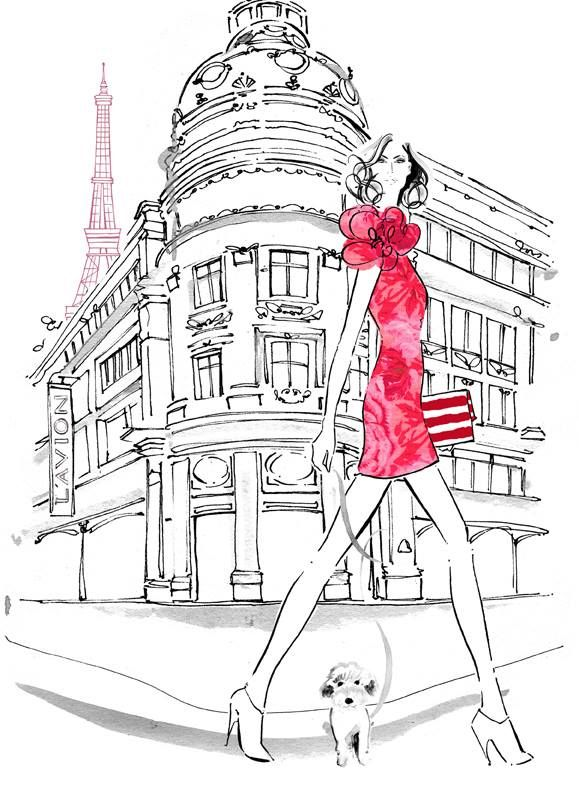Kerrie Hess Illustration: Who's up for an afternoon shop in Paris? ❥|Mz. Manerz: Being well dressed is a beautiful form of confidence, happiness & politeness