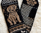 Hand crafted 100% wool mittens, yellow labrador puppy.