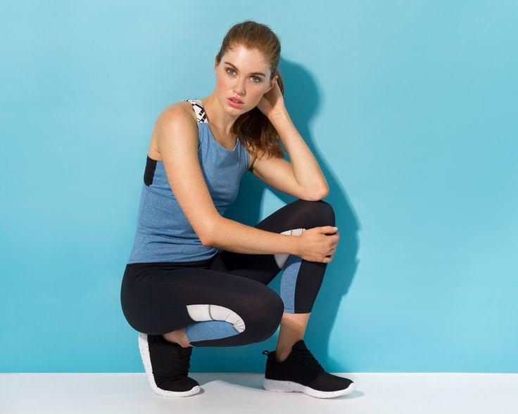 Women's exclusive activewear #blue #marle #activewear #Panel #leggins #performance #tank
