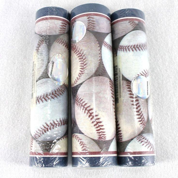 MLB Baseballs Wallpaper Border 3 Rolls x 15 Feet Blue Red White New Village #MLB #Baseball