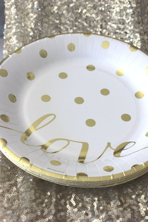 """Sale 10 GOLD POLKA DOT Love Small Paper Plates Glam Chic Gold Dots Dotted Kate Spade Inspired Bridal Shower Wedding bday Party Gold White 8"""""""