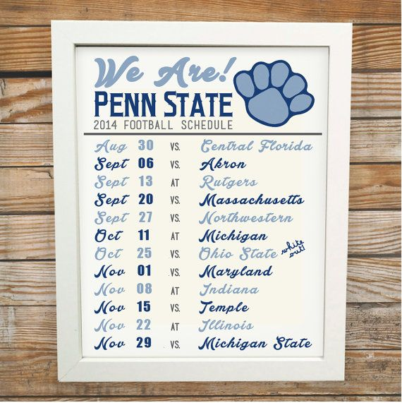 Penn State Football 2014 Schedule - Instant Download - 8x10 - Printable Art