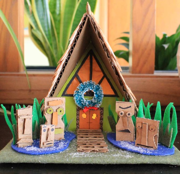 8th our series of midcentury modern putz house / Christmas village patterns -- a tiki hut!