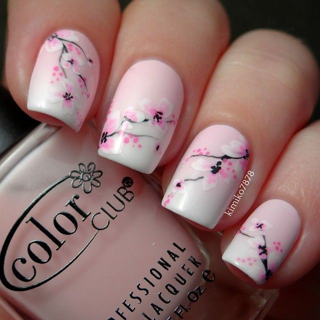 Pink and Black Cherry Blossom Nails.