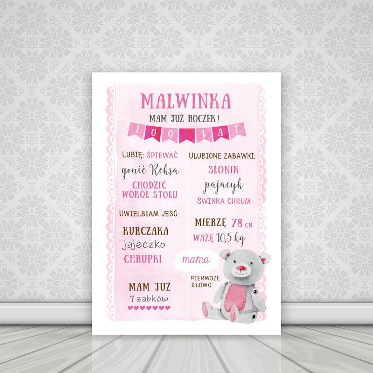 Personalizowany plakat na roczek dla dziewczynki MIŚ