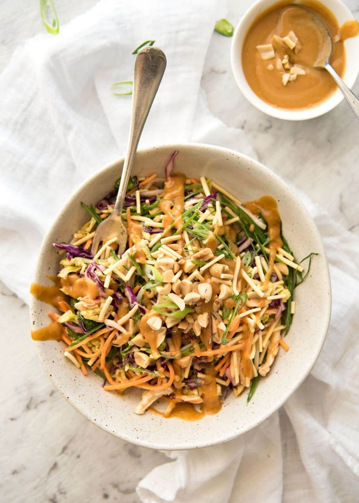 Cabbage, carrots, bean sprouts and chicken topped with peanuts and crispy noodles, then drizzled with an addictive Asian Peanut Salad Dressing.