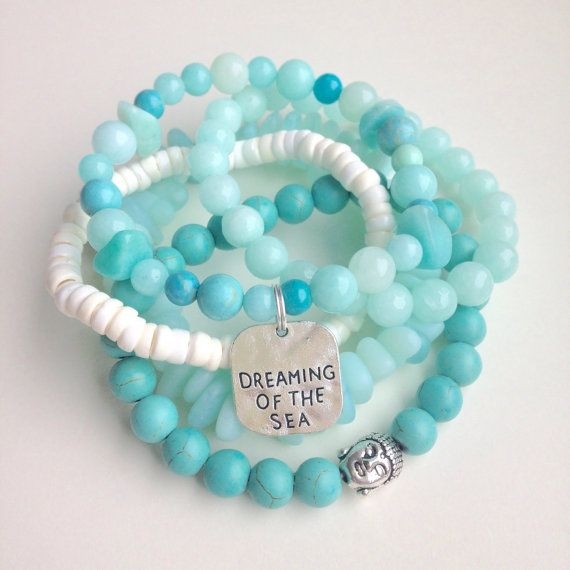 beach bracelet stack aqua bracelets dreaming of by beachcombershop