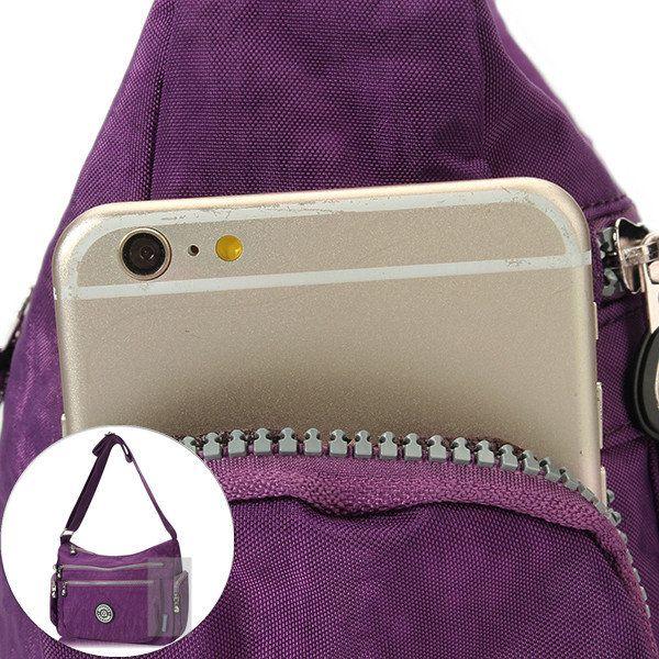 Women Casual Waterproof Nylon Multi-Pocket Shoulder Bag Crossbody Bag