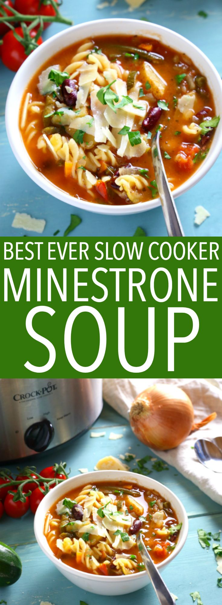 This Best Ever Slow Cooker Minestrone Soup is thick, comforting, and packed full of vegetables! It's so flavourful and easy to make, and it's the perfect way to warm up on a cold day! Recipe from thebusybaker.ca! #minestronesoup #slowcookersoup #slowcookerminestrone #besteverminestrone via @busybakerblog