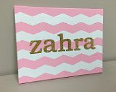 Baby Nursery Canvas  #handmade #baby #girl #newborn #gift #canvas #painting #chevron #pink&white #pink #gold #glitter #texascanvas #texas #tx #nursery #decor