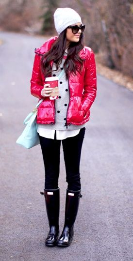 puffer jacket, polka dot sweater, dark skinny jeans, black rain boots, white beanie