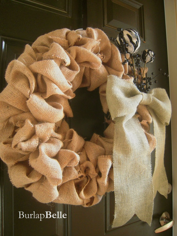 Natural Burlap Wreath with Bow and Accents by BurlapBelle on Etsy, $40.00