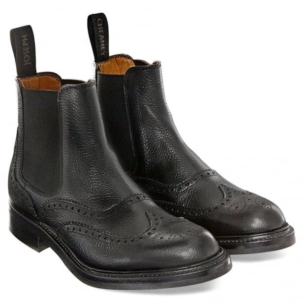 Cheaney Victoria | Ladies Black Brogue Chelsea Boot |Made In England