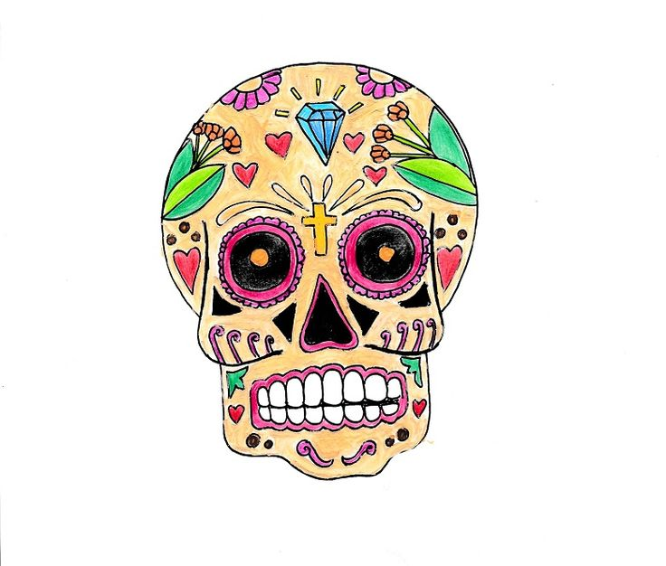 A4 illustration of a skull, titled Calavera III, inspired by the Mexican Día de los Muertos (Day of the Dead) celebrations. The skull is decorated with hearts, flowers, crucifix and diamond, using a variety of media (watercolours, colouring pencils and fine liner pen). #illustration #drawing #art #artwork #skull