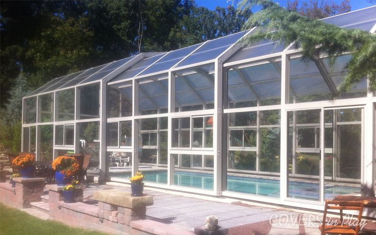 This Triple Peak enclosure 28 ft wide x 63 ft long with 3 bays. Perfect to enjoy and indulge in beautiful weather.http://www.coversinplay.com/about.html #Pool #PoolCover #Cover #Enclosure #PoolEnclosure #IndoorPools #PatioEnclosures #PoolDesigns #SwimmingPool #EndlessPool #RectractablePool  #GroundPool