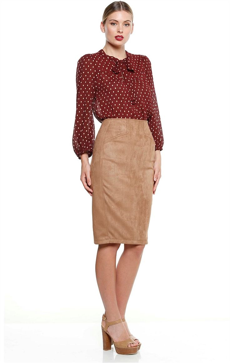 RICARDO FAUX SUEDE KNEE LENGTH FITTED PENCIL SKIRT IN CAMEL