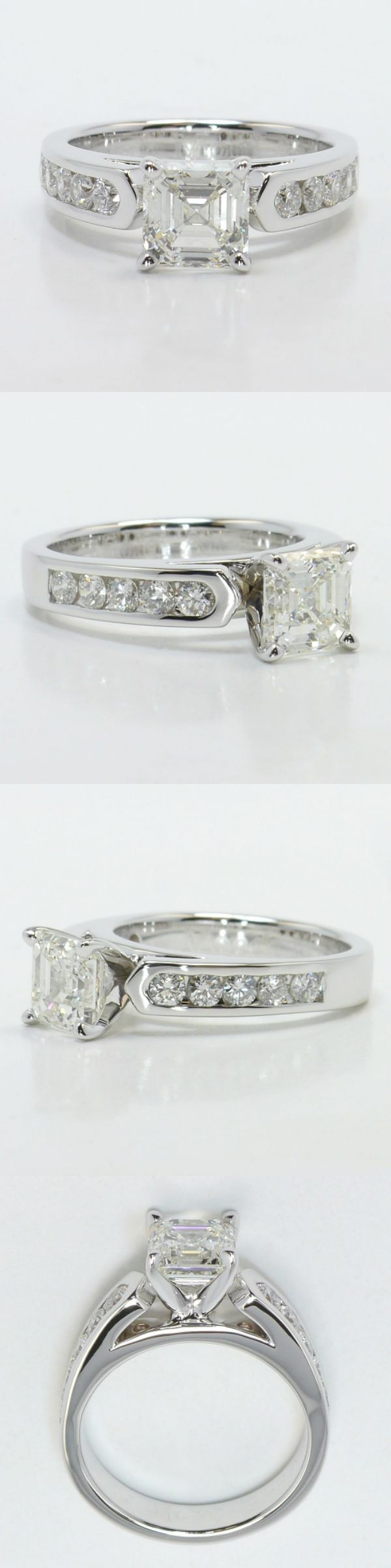 Stunning Cathedral Diamond Engagement Ring! Diamond/Gem Cost: $8,686 (Asscher 1.70 Ctw. Color: H Clarity: VVS2 Cut: Excellent Certification: EGL) Setting Cost: $1,515 (Metal: 18k White Gold Side Shape: Round Side Carat: .48 Side Color: G Side Clarity: SI1 Side Cut: Exellent Setting Type: Channel) Total Cost: $10,201 www.brilliance.com