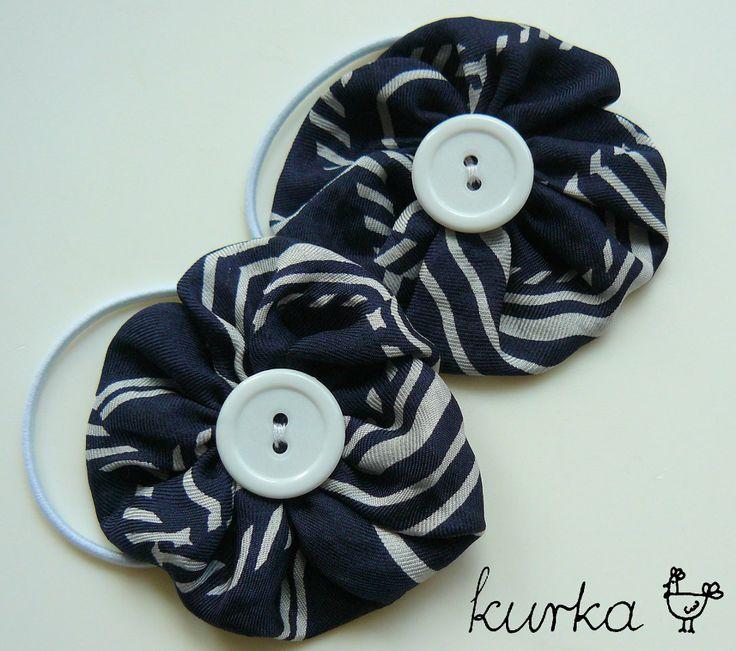 gumki handmade by kurka - granatowe kwiaty