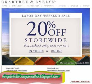 Free Printable Crabtree & Evelyn Coupons