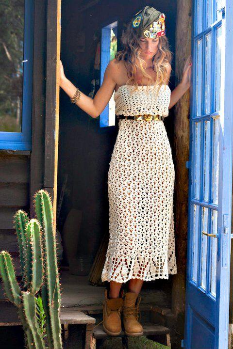 CrochetCrochet Ideas, Strapless Dresses, Dresses Crochet, Crochet Dresses, Crochet Style, Crochet Skirts, Bohemian Crochet, Crochet Clothing, Crochet Summer Dresses