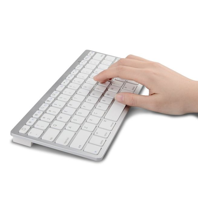Father's Day Gift Ideas - ULTRA-THIN Wireless Universal Bluetooth Keyboard for Apple iOS iPad iPhone Mac Windows - White